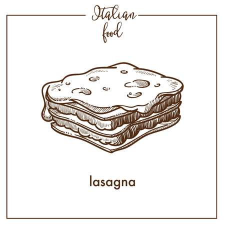 Lasagne pasta schets vector pictogram voor Italiaanse keuken eten menu ontwerp