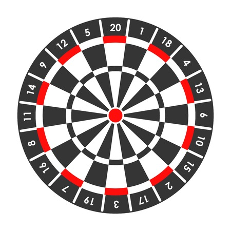 Target for darts game with score points around Vectores