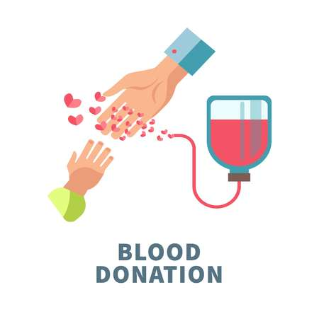 Blood donation agitative poster with adult and child hands. Illustration