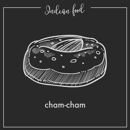 Big soft cham cham with almond from Indian food. Illustration
