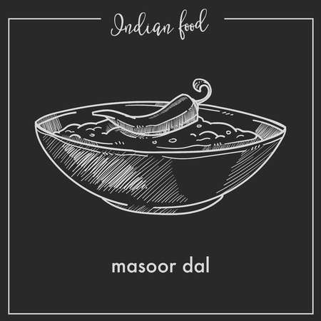 Masoor dal with chili pepper in bowl from Indian food.