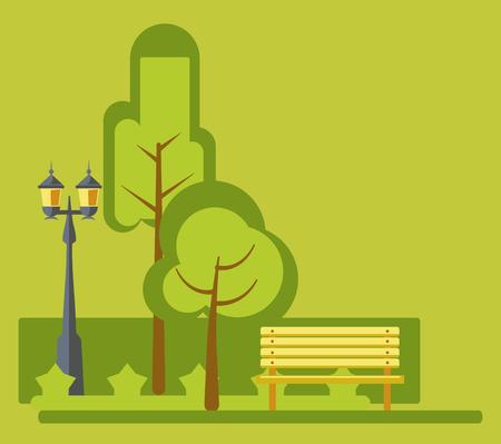 Amusement park green landscape stret lights and bench vector flat design Illustration