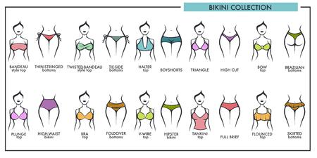 Kobieta bikini typy kolekcji wektorowe ikony mody bielizna lub strój kąpielowy