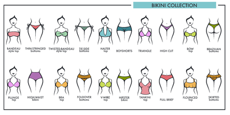 Woman bikini types collection vector icons of fashion lingerie or swimsuit Иллюстрация