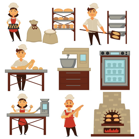 Baker in bakery shop baking bread process vector isolated profession people icons Illustration