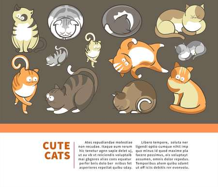Cute cartoon cats and kittens playing, sleeping or posing.