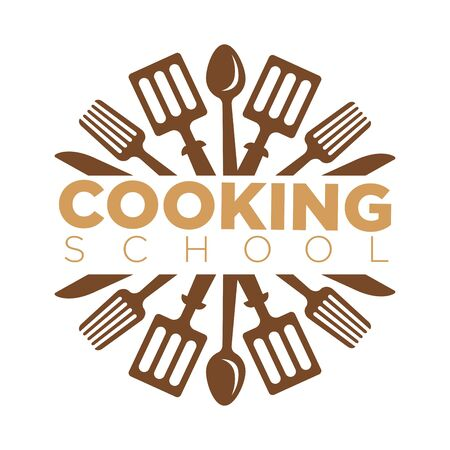 Cooking school masterclass logo template of chef cooking utensils and cutlery.