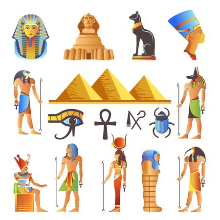 Egypt ancient culture symbols and icons set. Stock Illustratie