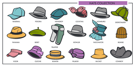Woman and man hats models collection of retro and modern fashion type. Illustration