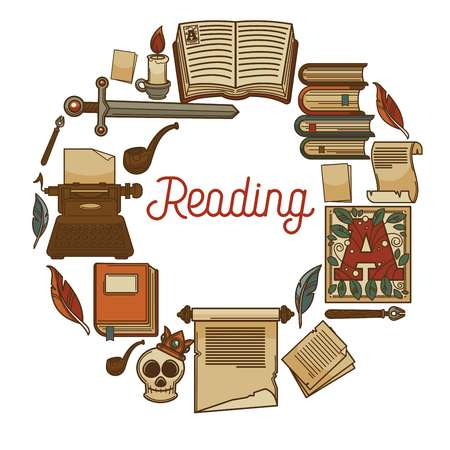 Reading promotional poster with old books and ancient relics in circle around sign in italic. Illustration