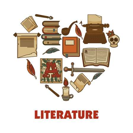 Literature promotional poster with books and paper ingots. Illustration