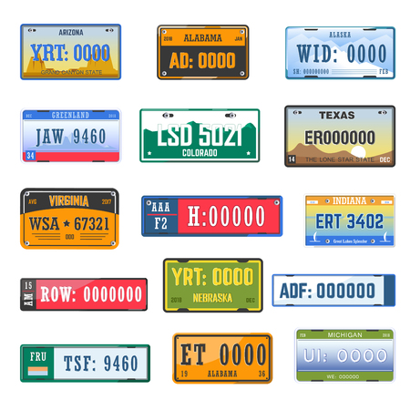 Vehicle registration number plates collection of different country.