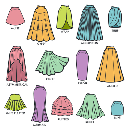 Woman skirts style models collection. Vettoriali