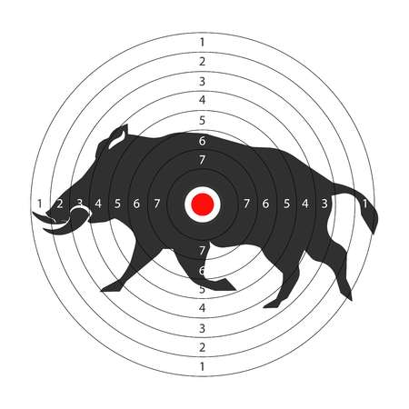 Hunting animal target vector icon for hunt shooting training background template. Illustration