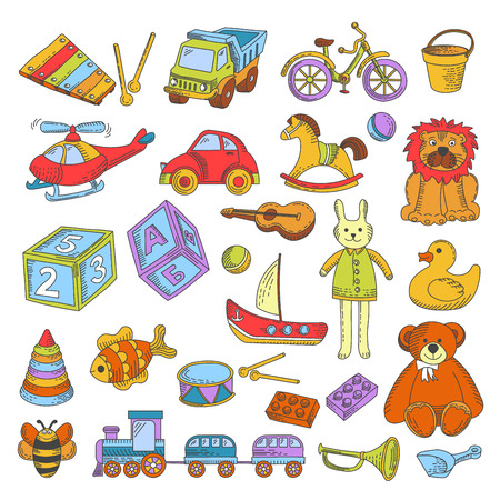 Kid toys and children playthings collection for kindergarten girls and boys.