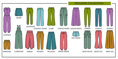 Woman trousers fashion type models collection.
