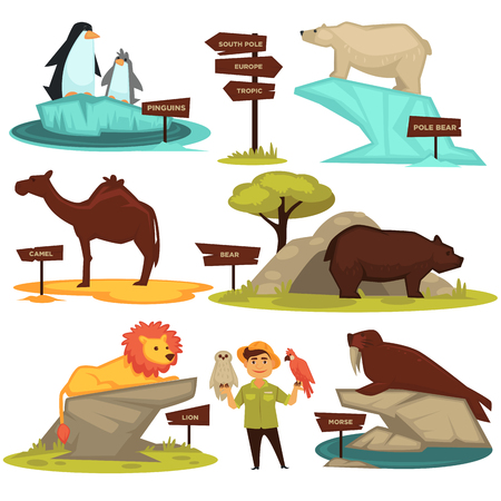 Zoo animals names and direction signs vector cartoon infographic guide icons set.