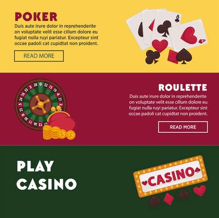 Casino poker game web banners for online internet gambling bets advertising. Vector design of casino gambling dice, chips and playing cards and jackpot roulette lucky 7 numbers
