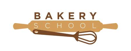 Bakery school or pastry cooking class logo template of rolling pin and whisk. Vector isolated icon of baker utensils for professional for kitchen cook workshop and mastercalss