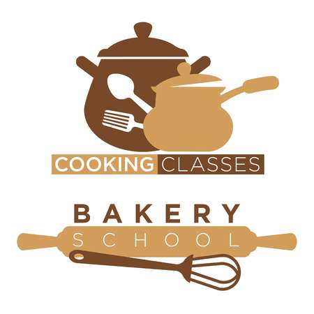 Cooking school and bakery chef workshop masterclass logo templates kitchenware utensils. Vector isolated icons set of bakery rolling pin and whisk, saucepan and ladle for professional cooking class
