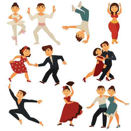 Dancing people dance different dances. Vector flat cartoon characters man and woman pair dancing ballet, salsa or tango and waltz, retro rock-n-roll and modern belly dance or flamenco
