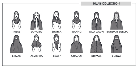 Muslim woman hijab type models collection. Vector isolated line icons of Muslim modern fashion womenswear hijab dupatta, shayla tuding or doa gaun and bandari burqa or chador