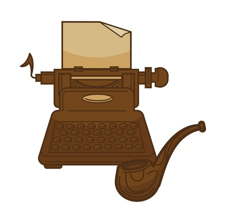 Vintage retro typewriter and poetry writer smoking pipe. Vector isolated icon for bookstore, bookshop or old literature library design