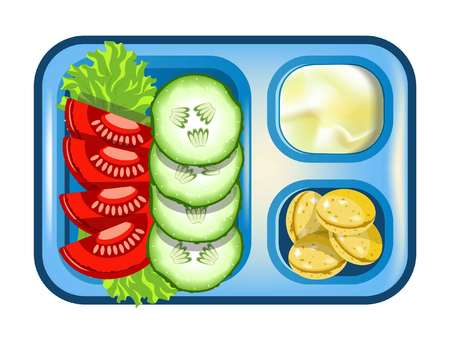 Lunch box with meals of vegetables salad, mashed potatoes or mayonnaise and cookie buns. Vector isolated flat icon of lunchbox with food for healthy eating breakfast or dinner on plastic plate