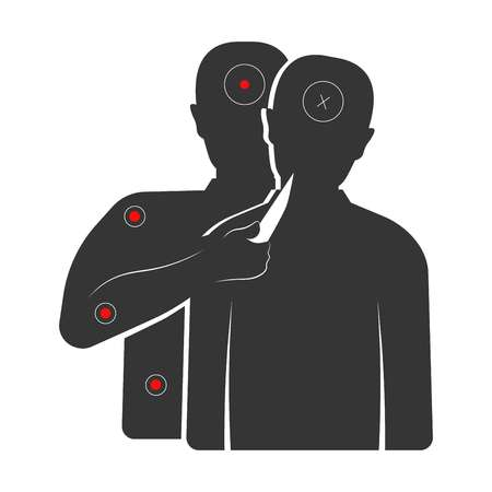 Target with criminal that holds knife and hostage silhouettes. Aim for shooting gallery and military trainings with people and red spots isolated cartoon flat vector illustration on white background.