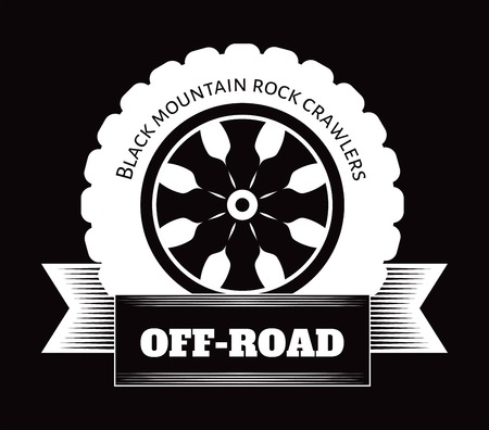 Off-road extreme car or auto drivers club vector wheel tire icon