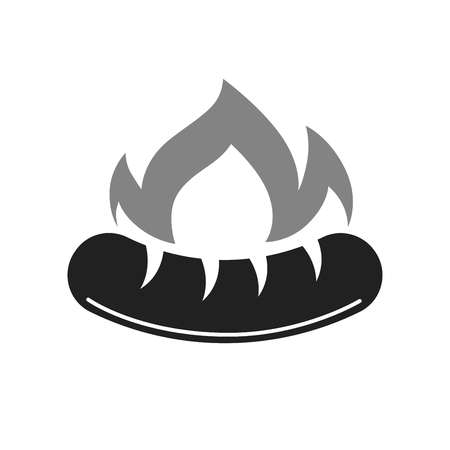 Barbecue or bbq grill hot sausage vector icon for bucher shop Ilustrace