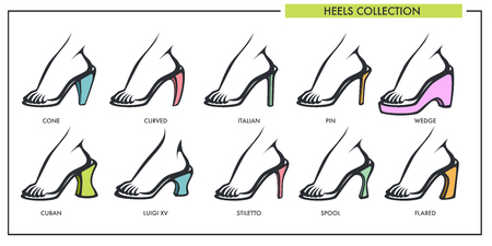 Woman shoe heels type models collection vector isolated female footwear line icons