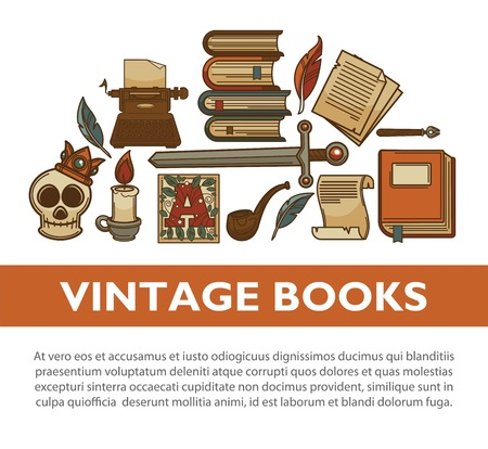 Vintage literature old books vector poster of writer quill ink pen typewriter vector icons. Illustration