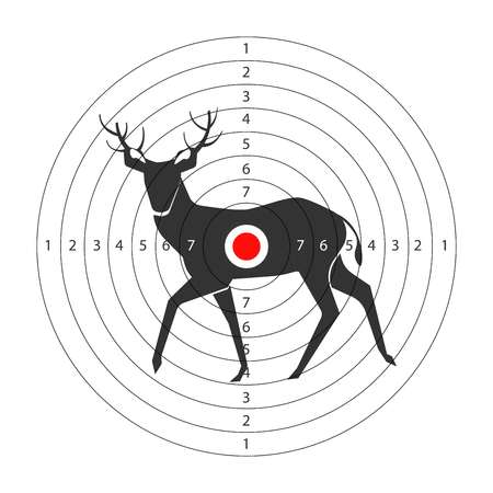 Target for shooting gallery with deer black silhouette Vectores