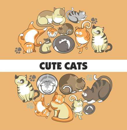 Cute cats poster design 일러스트