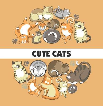Cute cats poster design Illustration