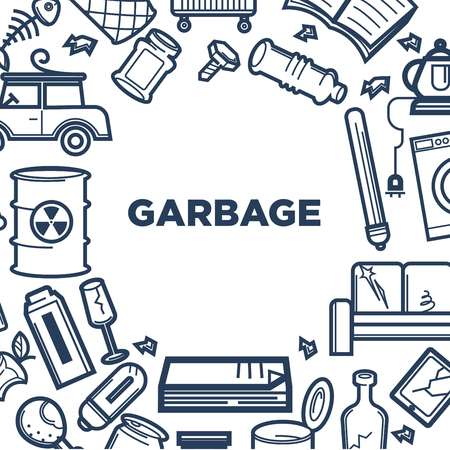 Garbage promotional poster with frame of useless trash
