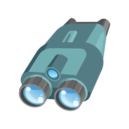 Pair of binoculars with powerful zoom and shiny lenses Illustration