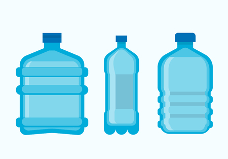 Plastic bottles with clean fresh mineral water set