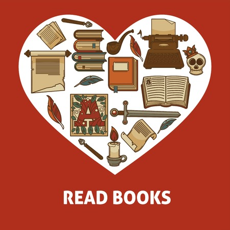 Read books poster with old relics set inside heart