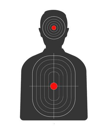 Target with red spots on human black silhouette