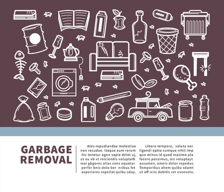 Garbage removal informative promo banner with sample text