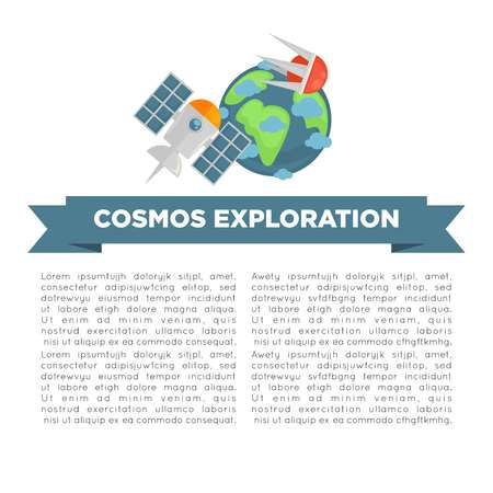 Cosmos exploration informative poster with earth model and sample text