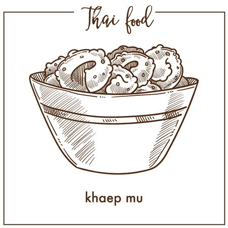 Khaep mu in deep bowl from Thai food