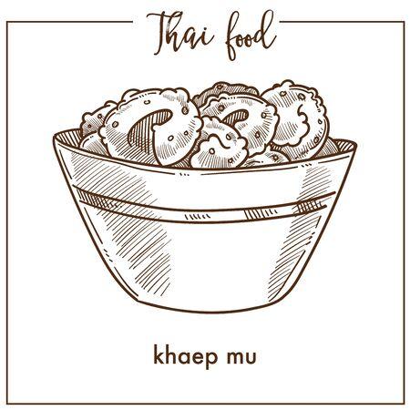 Khaep mu in deep bowl from Thai food