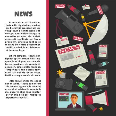 News informative promotional banner with report equipment set Vettoriali