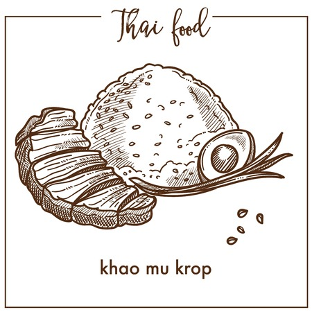 Khao mu krop with egg from Thai food Illustration