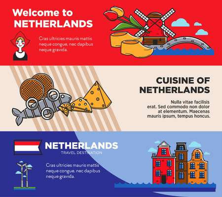Netherlands travel destination promo posters set with sample texts