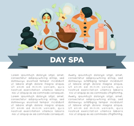 Day spa service promotional banner with sample text