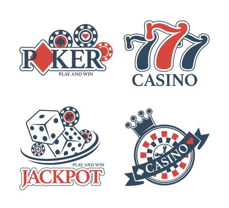 Casino Jackpot and poker club isolated promotional emblems set